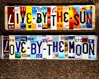 Boho decor. Bohemian. Live by the Sun love by the moon. Hippie decor. License plate art. Gift for her.