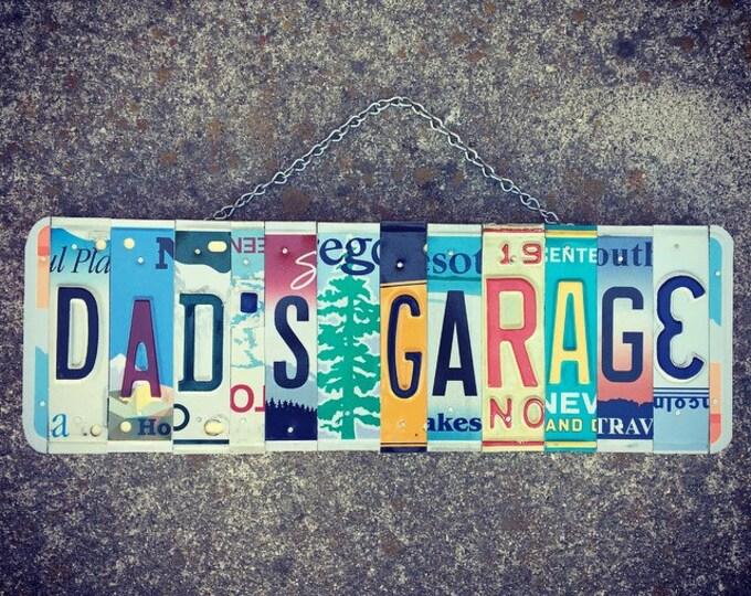 Dad's Garage Sign, Garage Sign, Gift for Dad, Mechanics Gift, Gift for Men, Car Decor, License Plate Sign, Garage Decor, Dad Birthday Gift.