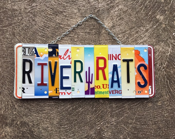 RIVER RATS License Plate Art. Sign. Cabin Decor. Outdoor Decor.  Sportman gift idea. Vacation home decor.
