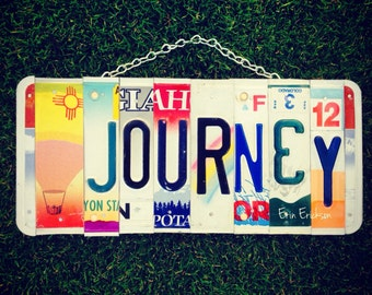 License plate. Journey. Travel. Hot air balloon. Birthday. Gift idea. Hawaii. New Mexico. Urah. Colorado. Oregon. Car. Garage sign. For him