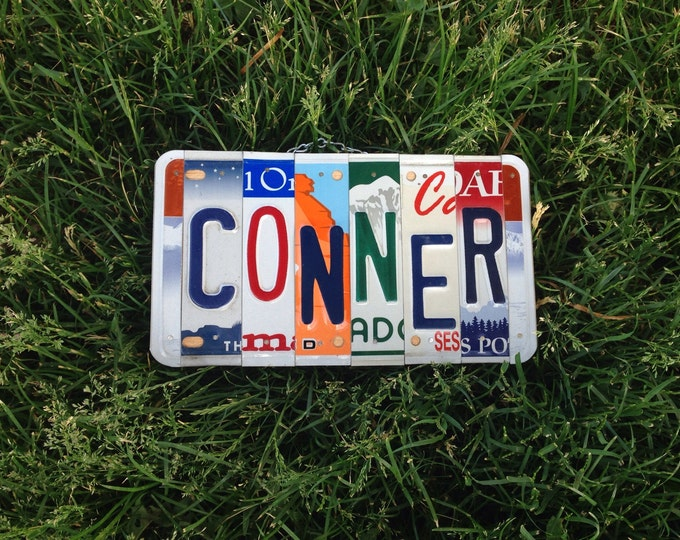Exchange student gift. License plate sign. Boy. Boys birthday. Texas. Nursery. Decor. Custom sign. Art. Name.