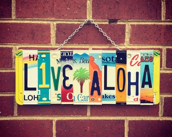 Live Aloha Sign, Aloha Sign, Palm Tree Decor, License Plate Art, Gift for Mom, Beach Gift, Palm Tree Wall Art, Beach House Decor, Hawaii Art