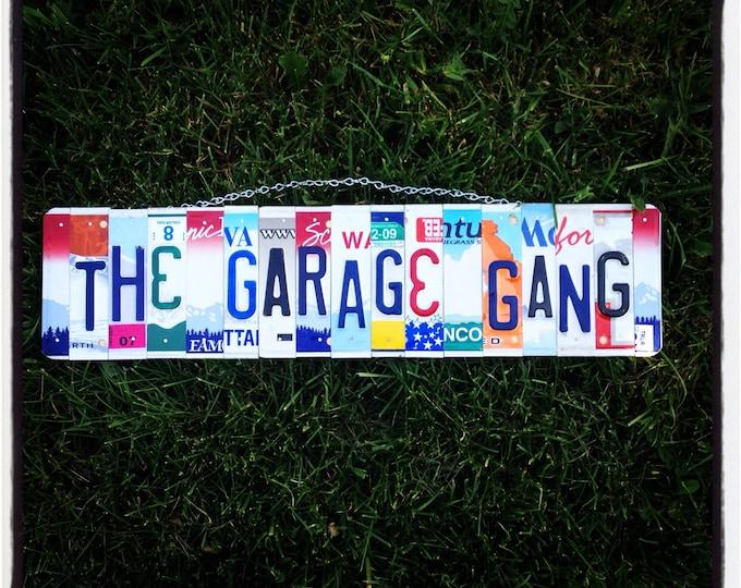 License plate sign. Custom. Man. Dad. Fathersday. Garage. Tools. Mechanic. Car. Beer. Roomdecor. Garagesign. Shop. Mancave