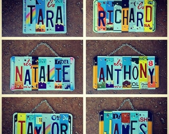 License Plate Signs, Custom Name Signs, Dorm Room Decor, Kids Birthday Gift, Recycled Art, Employee Appreciation, Car Memorabilia.