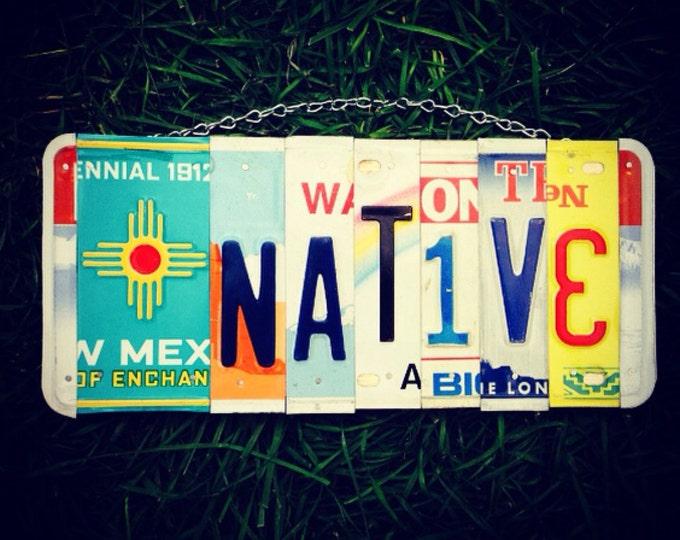 License plate. Art. Native. Indian. Tribal. Homedecor. Hawaii. Sign. Feather. New Mexico. Travel. Gift idea. Handmade. Boho