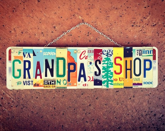 Gift For Grandpa, License Plate Sign, Garage Sign, Grandpa's Shop, Grandpa Birthday, Personalized Gift for Grandpa