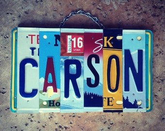 Personalized Gifts, Gifts for Kids, Boys Name Sign, Car Themed Room Decor, Custom Name, License Plate Letters, Carson