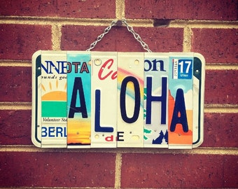 Aloha Sign, Beach Decor, Sun Decor, Mothers Day Gift, Hawaii Art, Hawaiian Gifts, License Plate, Love.
