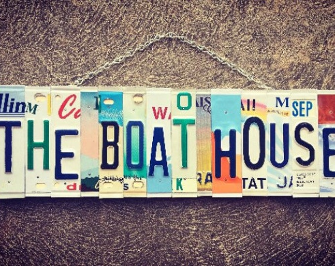 Boat House Sign, Boat Gifts, Boating Decor, Gift for Men, License Plate Art, Nautical Wall Decor, Boating Gifts