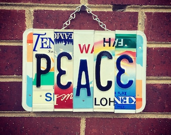 PEACE Sign - License Plate Sign - Boho Decor - Hippie Decor - Gift Idea - Birthday Gift - Dorm Room Decor