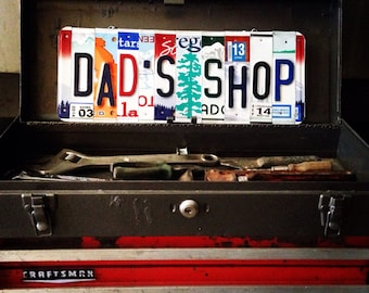 DAD'S SHOP License Plate Art - Fathers Day Gift - Gift for Him - Retirement Gift - Mechanics Gift - Gift for Dad