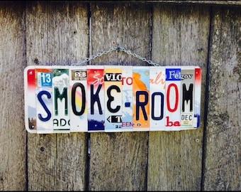 SMOKE-ROOM Sign. No Smoking sign. No smoking. Smoke room sign. Garage sign.