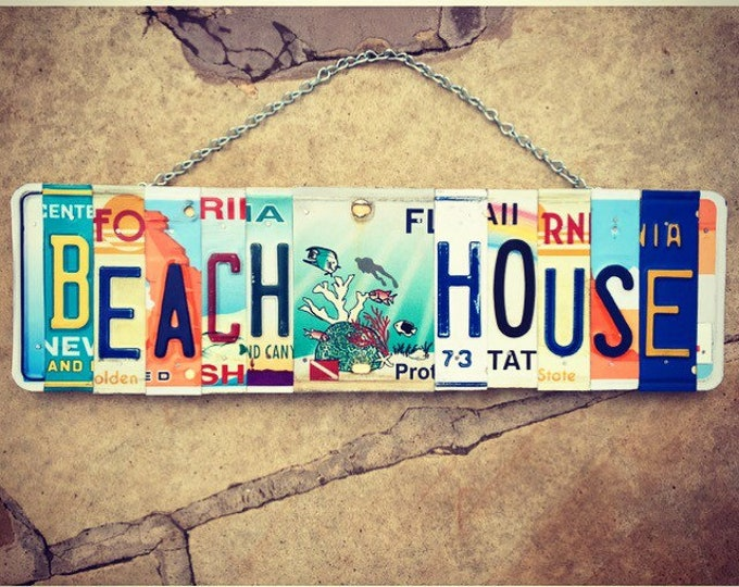 Beach House Gift, Beach House Art, Reef Wall Decor, License Plate Art, Gift for Mom, Beach House Signs, Beach House Art.