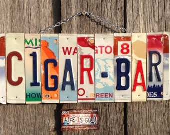 Cigar Bar License Plate Sign - Fathers Day Gift - Gift for Him -Retirement Gift - Cigar Bar Sign - Bar Sign - Mens Birthday