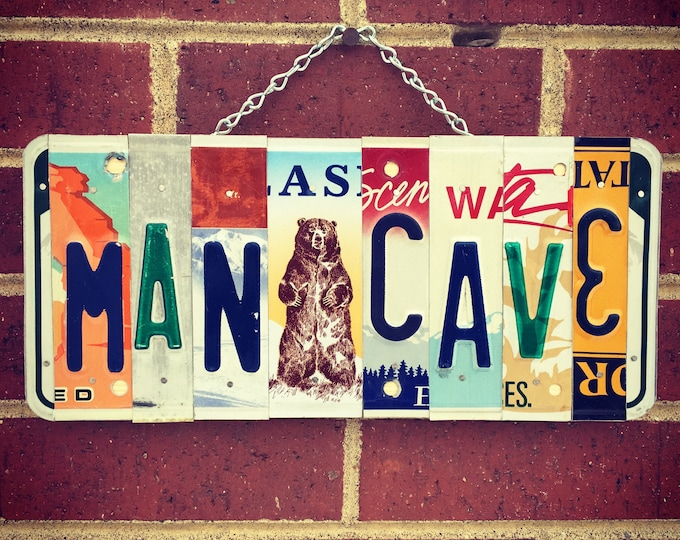 Mancave Decor. Fathers Day Gift. Mancave Sign. License Plate Art. Mancave Art. Mancave Items. Mens Birthday Gift. For Him.