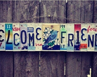 Recycled. License Plate. Room Decor. Sign. Wall hanging. Custom Name. Handmade.Family name. door hanging.Bluebird. Friends. Homedecor