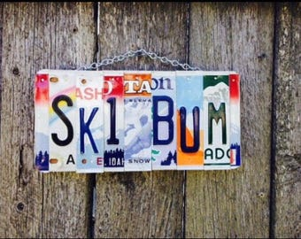 Ski Bum Sign, Gifts for Skiers, Ski Cabin Art, License Plate Sign, Skier Gift Ideas, Skier Sign