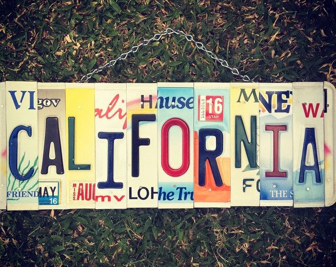 California License Plate Sign - Travel Art - Housewarming Gift - Beach Decor - Beach House Gift - License Plate Art - California Gift