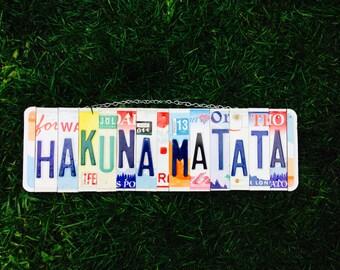 Hakuna Matata. Gift for Kids. Nursery decor. License plate Sign. License plate art. Lion king Theme. Kids room Decor.