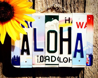 Aloha Sign, Hawaiian Decor, Beach Sign, Beach House Decor, Surf Decor, License Plate, Hawaiian