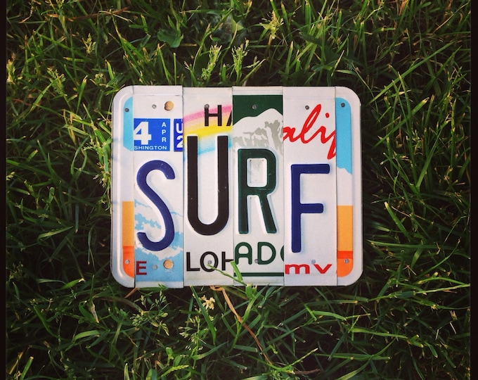 SURF License Plate Sign. Surfer Sign. Gift for Surfer. Surf Decor. Surf Sign.