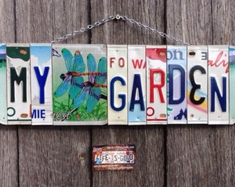 MY GARDEN. mothers day. license plate art - recycled license plate- garden decor - birthday gift for her - eco friendly - dragonfly