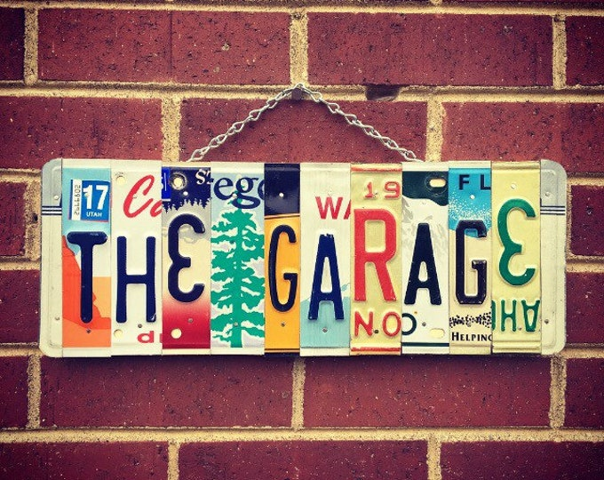 Garage Sign, Gift for Men, License Plate Art, Fathers Day Gift, Mancave Decor, Car Decor, Shop Sign, Garage Decor, Gift for Husband.