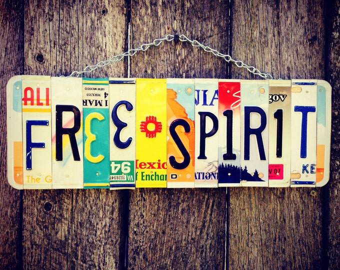FREE SPIRIT License Plate Art - boho - recycled license plates - gypsy - hippie chic - christmas gift for her - hippie decor - for her