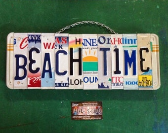 Nautical. License plate art. Recycled. License Plate. Room Decor. Sign. Wall hanging.Custom Name. Handmade.Family name. Beach.