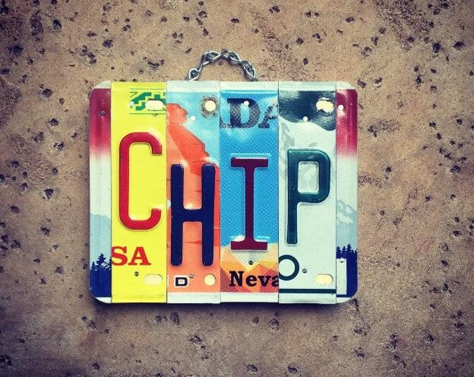 Mens Gift, Chip, Gift for Men, Custom Sign, Wood Sign, Garage Sign, Mancave Art, License Plate Letters.