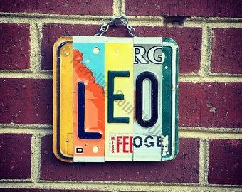 Leo, Leo Zodiac, Leo Constellation, Zodiac Gifts, Astrological Decor, New Age, Recycled License Plate, Birthday Gift for July August.