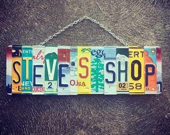 Fathers Day Gift. Gift for Men. License Plate Art . Garage Sign. Shop Sign. Gift for Dad. Garage Decor. Fathers Day Gift From Wife.