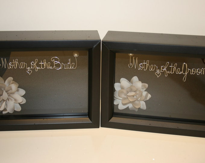 Sale.Wedding.Mother of the bride gift.mother of the groom gift. wedding gift idea. wire name.gift idea. shadow box Copy