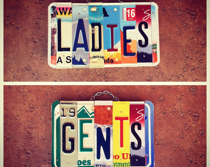His and Hers, Bathroom Sign, License Plate Art, Ladies Sign, Business Restroom Signage, Gentleman Only, Bathroom Art, Bathroom Wall Decor.