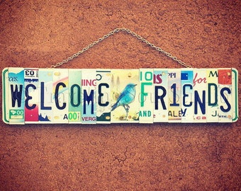License Plate Welcome Sign, Welcome Sign for front Porch, Blue Bird Hanging, House Warming Gift, Garden Art, Outdoor Decor, Gift for Friend.