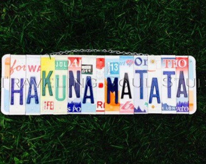 Hakuna Matata. Gift for Kids. Nursery decor. License plate Sign. License plate art. Lion king Theme. Kids room Decor.