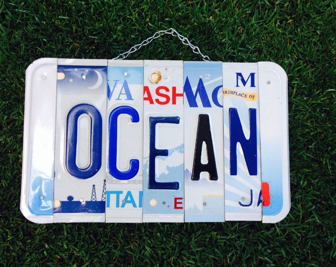 Ocean. Christmas. License plate sign. Room decor.