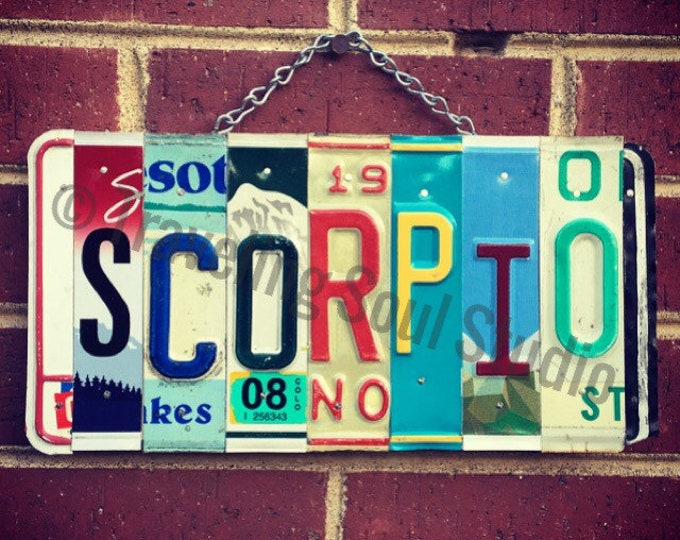 Scorpio, Scorpio Gifts, Scorpio Zodiac, Zodiac Gift Ideas, Scorpio Sign, License Plate Sign, Birthday Gifts, Birth Chart