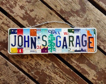 Gift for Dad. License Plate Art. Garage Sign. Mechanic Gift. For Him. Fathers Day Gift. Mancave Decor. Garage Sign.
