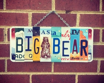 Big Bear Lake, Big Bear Sign, California Art, California Sign, License Plate Art, Bear Art, Alaska License Plate, Travel Gifts
