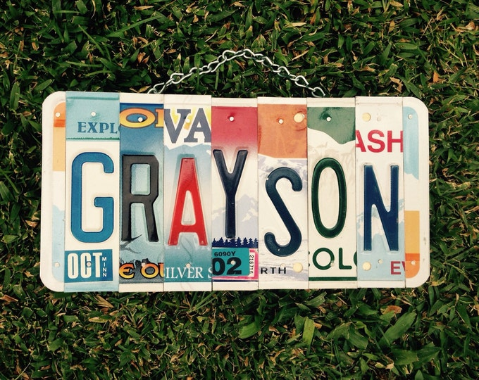 Boys room. License plate. Art. Name. Custom made. Wood sign. Christmas. Giftidea. Cars. Hotrod