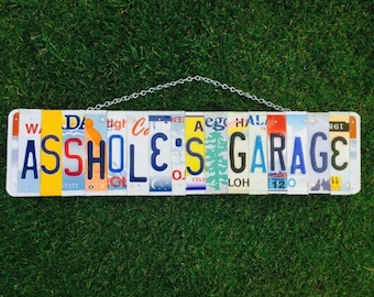 License plate . Garage . Sign. For him. Christmas. Present. Motorcycle. Car. Mancave. Giftidea. Dad. Recycled. Art. Custom.