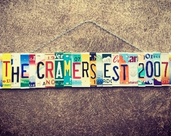 10 Year Anniversary Gift - Recycled License Plate Art - Gift for Him - Gift for Her - Tin Anniversary Gift - Wedding Date- Family Name