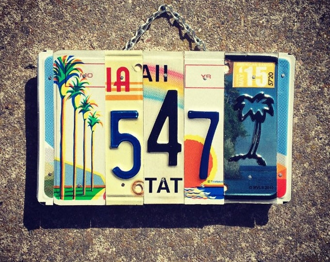 Address Sign, House Numbers, License Plate, Palm Tree, House Warming Gift, Beach House Decor, Address Number.