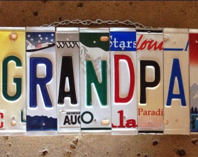 GRANDPA License Plate Sign - Gift for Grandpa - mancave sign - recycled license plates - Father's Day gift for grandpa