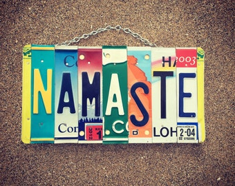Namaste Sign. Yoga Gifts. Yoga Sign. License Plate. Namaste Wall Art. Namaste Art. Yoga Teacher Gift. Yoga Gifts for Women.