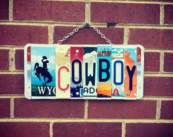 Cowboy Signs, Boys Birthday, Cowboy Nursery Decor, Western Decor, Western Art, License Plate Art, Boys Room Decor, Gift for him.