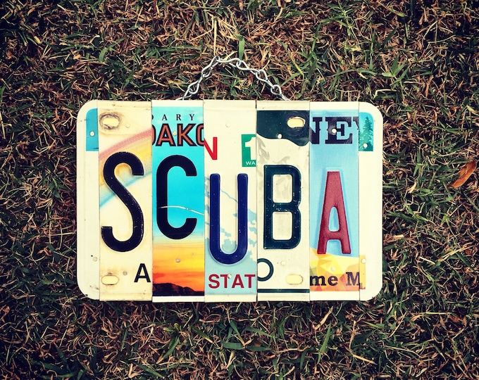 Scuba Diving Gifts, License Plate Art, Scuba, Gift for Dad, Made in Hawaii, Retirement Gift, Beach House Decor, Upcycled