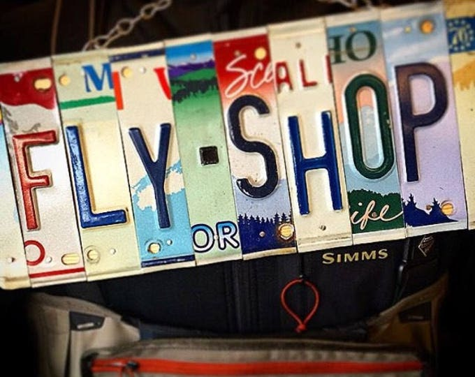 Fishing Sign - License Plate Art - Fly Fishing Art - Retirement Gift idea-Fathers Day - For Him - Fishing Decor - Business Sign - Garage Si