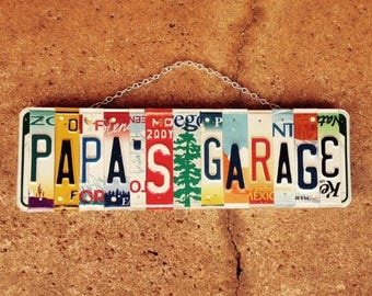PAPA'S GARAGE SIGN. Gifts for Grandpa. Gifts For Him. Father's Day Gift. Gifts for Papa. Grandfather Gifts. License Plate Sign.